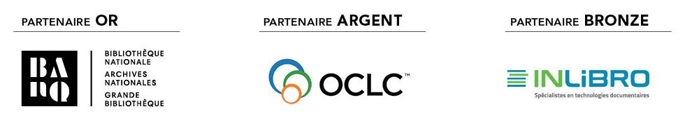 Partenaires du CPI 2021. Partenaire Or : Bibliothèque et Archives nationales du Québec. Partenaire Argent : OCLC. Partenaire Bronze : INLiBRO.